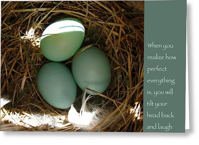 Gautama Greeting Cards - Bluebird Eggs with Buddha Quote Greeting Card by Heidi Hermes