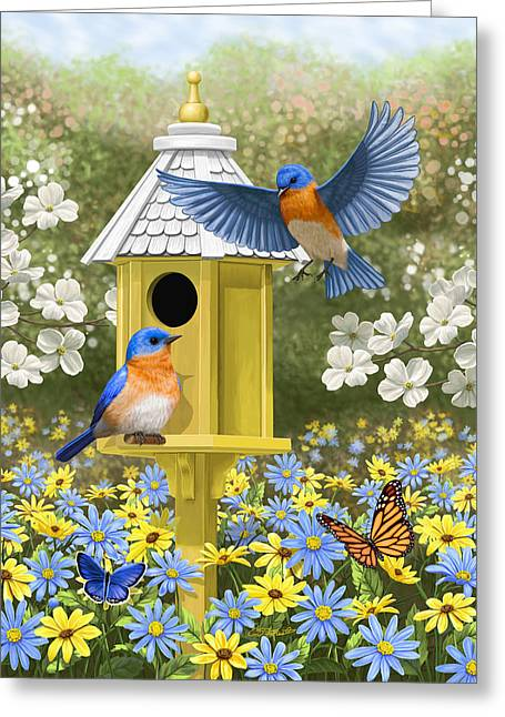 Pink Flower Branch Greeting Cards - Bluebird Garden Home Greeting Card by Crista Forest