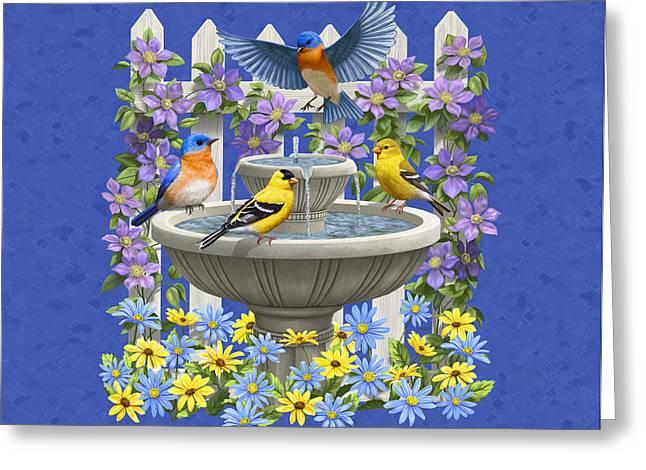 Bluebird Goldfinch Birdbath Garden Royal Blue Greeting Card by Crista Forest