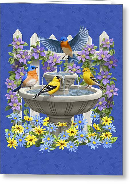 Birdbath Greeting Cards - Bluebird Goldfinch Birdbath Garden Royal Blue Greeting Card by Crista Forest