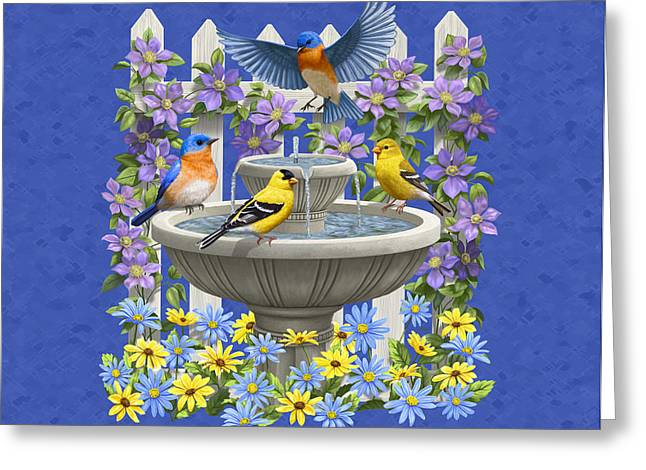 American Goldfinch Greeting Cards - Bluebird Goldfinch Birdbath Garden Royal Blue Greeting Card by Crista Forest