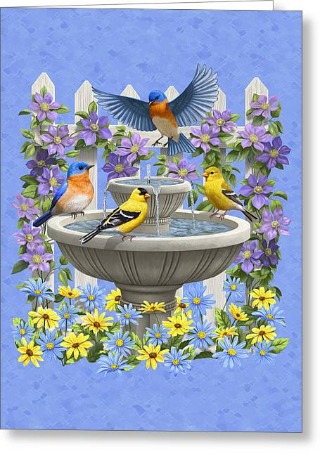 Birdbath Greeting Cards - Bluebird Goldfinch Birdbath Garden Light Blue Greeting Card by Crista Forest