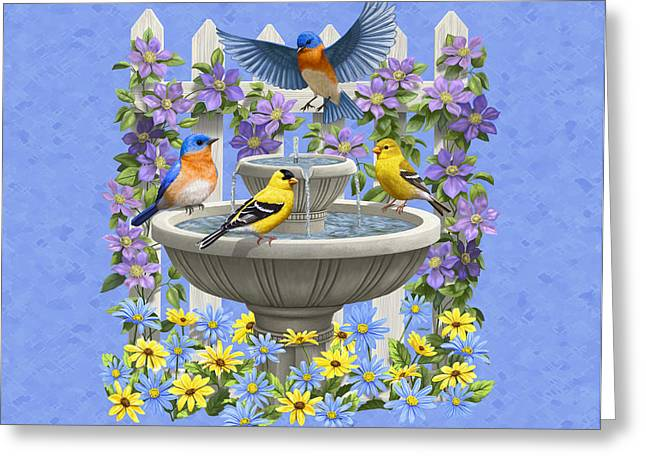American Goldfinch Greeting Cards - Bluebird Goldfinch Birdbath Garden Light Blue Greeting Card by Crista Forest