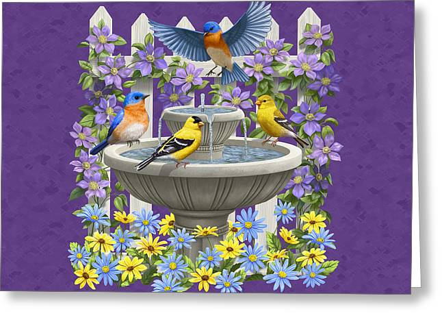Birdbath Greeting Cards - Bluebird Goldfinch Birdbath Garden Mauve Greeting Card by Crista Forest