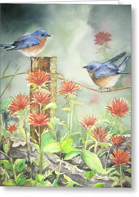 Bluebirds Greeting Cards - Bluebirds and Indian paintbrush Greeting Card by Patricia Pushaw