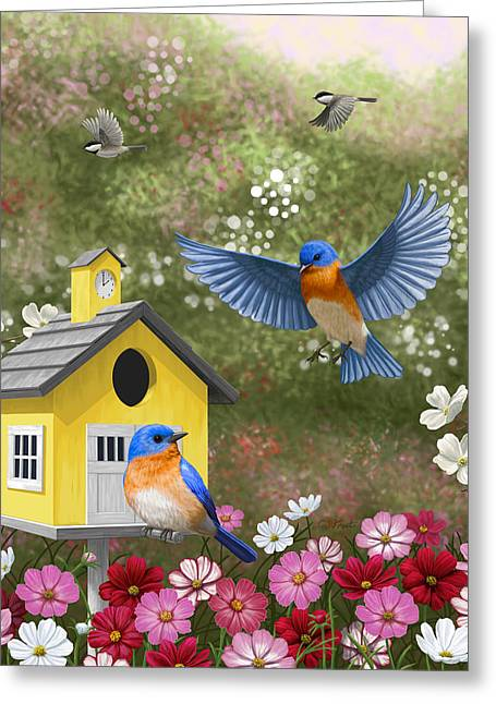 Bluebirds And Yellow Birdhouse Greeting Card by Crista Forest