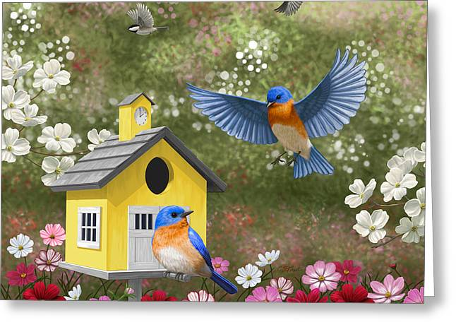 Eastern Bluebird Greeting Cards - Bluebirds and Yellow Birdhouse Greeting Card by Crista Forest