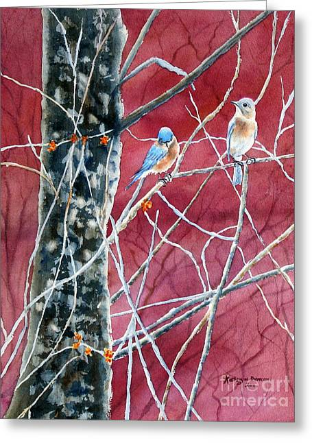 Bluebird Greeting Cards - Bluebirds In Early Spring Greeting Card by Kathryn Duncan