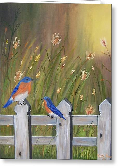 Ruth Housley Greeting Cards - Bluebirds on Fence - Two SOLD Greeting Card by Ruth  Housley