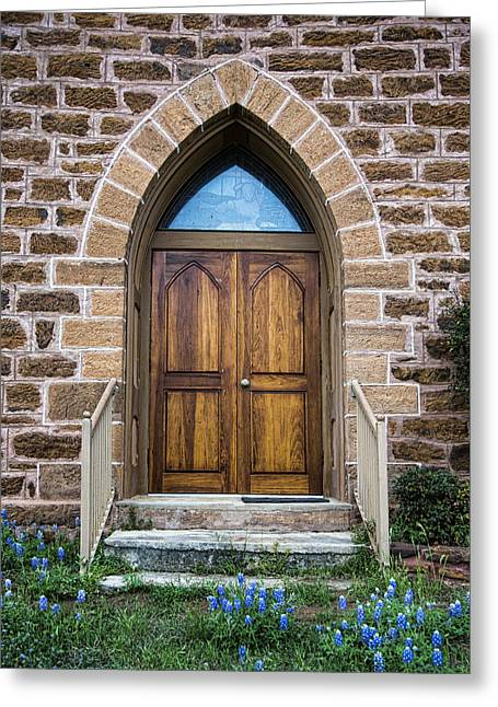 Stepping Stones Greeting Cards - Bluebonnet Door Greeting Card by Stephen Stookey