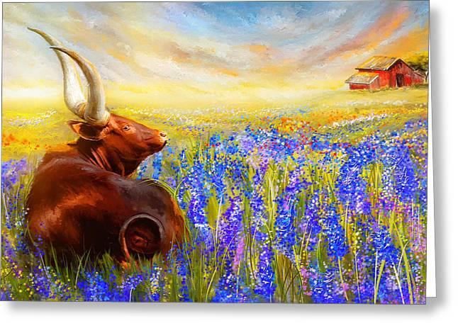 Texas Longhorn Cow Greeting Cards - Bluebonnet Dream - Bluebonnet Paintings Greeting Card by Lourry Legarde