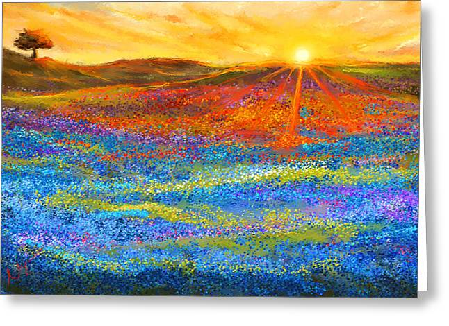 State Flowers Greeting Cards - Bluebonnet Horizon - Bluebonnet Field Sunset Greeting Card by Lourry Legarde