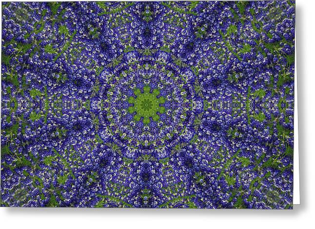 Paws4critters Photography Greeting Cards - Bluebonnet Lace Kaleidoscope Greeting Card by Robyn Stacey