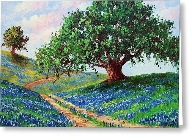 Oak Tree Paintings Greeting Cards - Bluebonnet Road Greeting Card by David G Paul