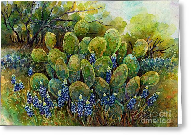 Bluebonnets And Cactus 2 Greeting Card by Hailey E Herrera