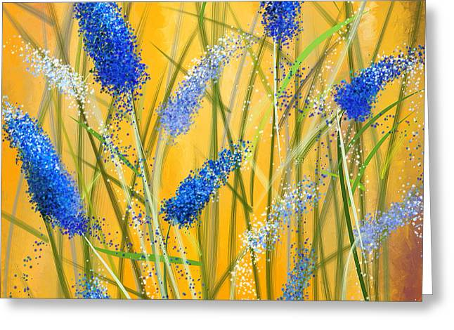 State Flowers Greeting Cards - Bluebonnets Glow Greeting Card by Lourry Legarde