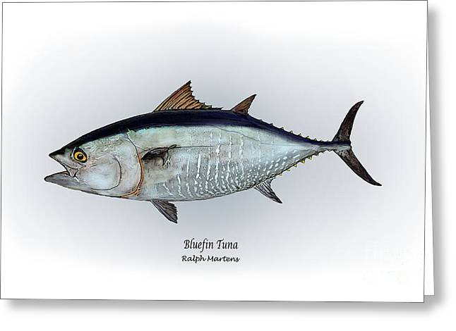 Angling Drawings Greeting Cards - Bluefin Tuna Greeting Card by Ralph Martens