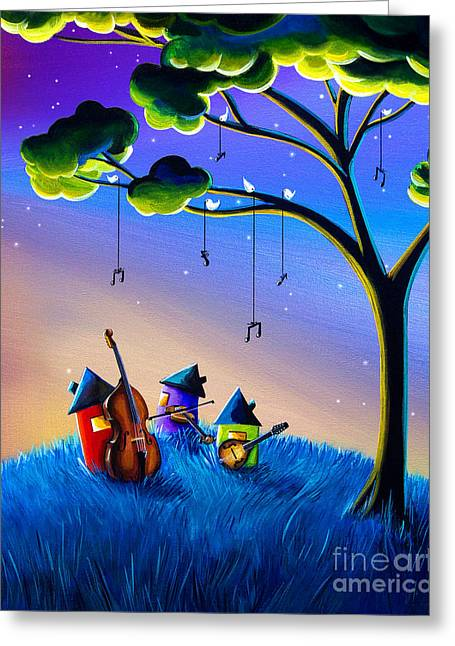 Mandolin Greeting Cards - Bluegrass Nights Greeting Card by Cindy Thornton