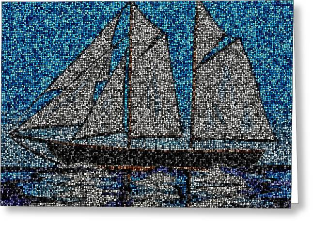 Tall Ships Mixed Media Greeting Cards - Bluenose II Greeting Card by Kathleen Sartoris