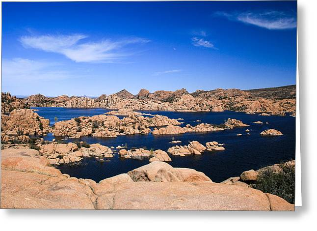 Watson Lake Greeting Cards - Blues and Boulders Greeting Card by Tracey Lyn  Productions