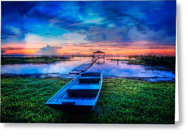 Boats At The Dock Greeting Cards - Blues Before Dawn Greeting Card by Debra and Dave Vanderlaan