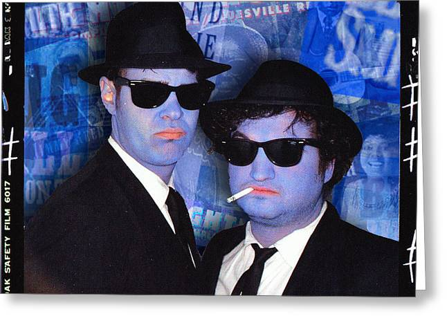 Live Music Mixed Media Greeting Cards - Blues Brothers Blue Greeting Card by Tony Rubino