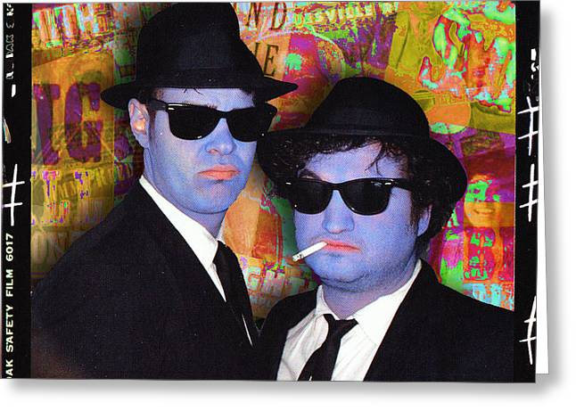 Live Music Mixed Media Greeting Cards - Blues Brothers Gold Greeting Card by Tony Rubino