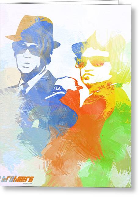 Blue Posters Greeting Cards - Blues Brothers Greeting Card by Naxart Studio