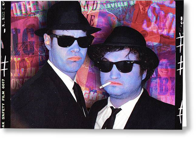Live Music Mixed Media Greeting Cards - Blues Brothers Red Greeting Card by Tony Rubino