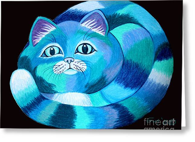 Cat Drawings Greeting Cards - Blues Cat Greeting Card by Nick Gustafson