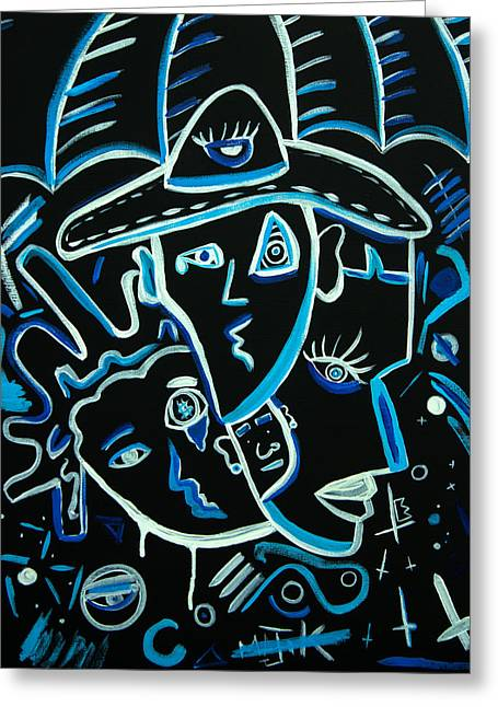 Kenal Louis Paintings Greeting Cards - Blues Face Greeting Card by Kenal Louis