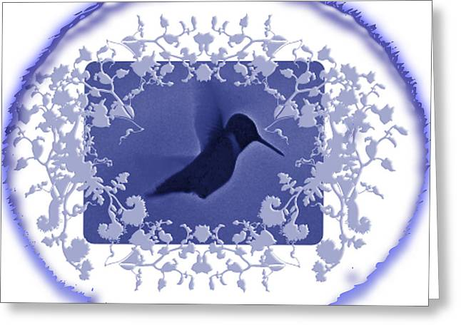 Flocks Of Birds Mixed Media Greeting Cards - Blues Hummingbird Trim  Greeting Card by Debra     Vatalaro