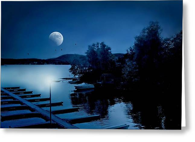 Blues On The Lake Greeting Card by Diana Angstadt
