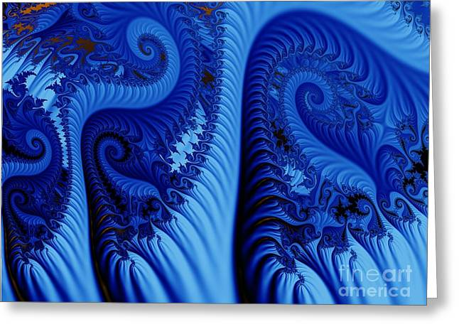 Fractal Greeting Cards - Blues Greeting Card by Ron Bissett