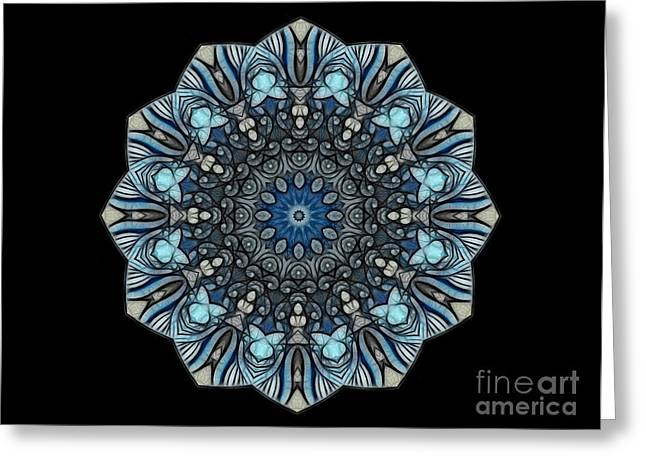 Mandala Print Greeting Cards - Bluetitude 01 - Quietude Greeting Card by Aimelle