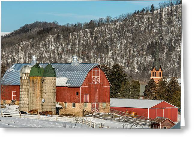 Barn Yard Greeting Cards - Bluff Country Barn Greeting Card by Paul Freidlund