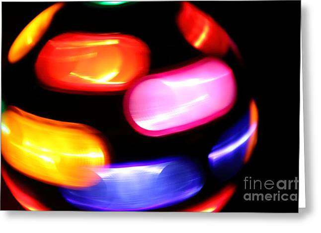 Night Lamp Greeting Cards - Blurred disco lights Greeting Card by Gregory DUBUS
