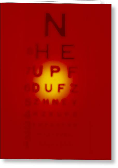 Communicated Greeting Cards - Blurred View Of A Snellen Eye Test Chart Greeting Card by Tek Image