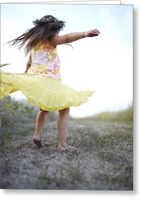 Playful Greeting Cards - Blurred View Of Little Girl Twirling Greeting Card by Ink and Main