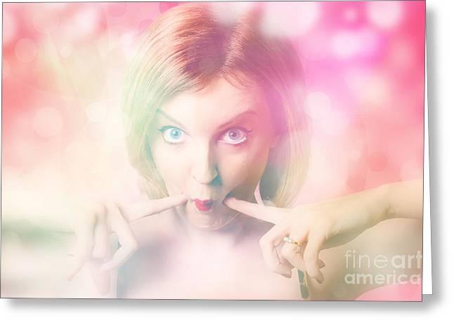 Disbelief Greeting Cards - Blushing pinup girl in haze of makeup hues Greeting Card by Ryan Jorgensen