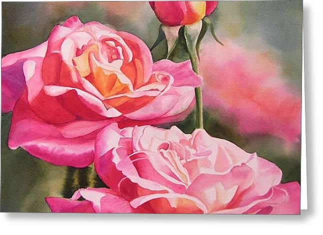 Blushing Roses with Bud Greeting Card by Sharon Freeman