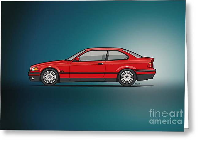 Bmw 3 Series E36 Coupe Red Greeting Card by Monkey Crisis On Mars