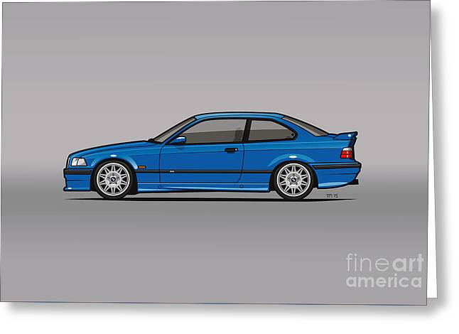 Bmw 3 Series E36 M3 Coupe Estoril Blue Greeting Card by Monkey Crisis On Mars