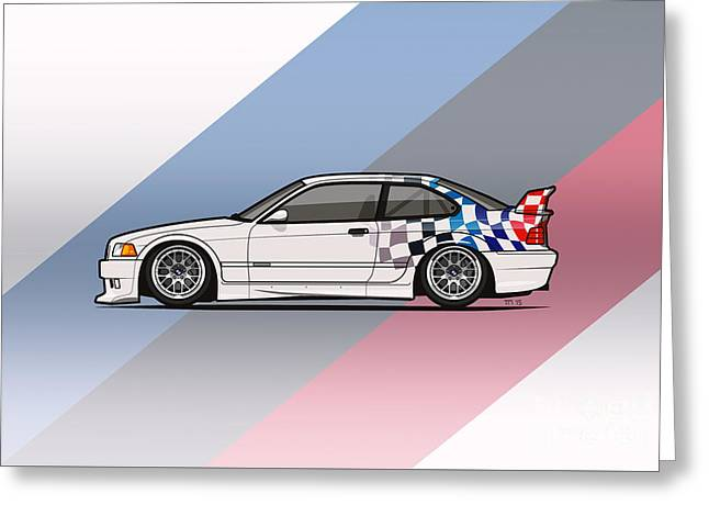 Bmw 3 Series E36 M3 Gtr Coupe Touring Car Greeting Card by Monkey Crisis On Mars