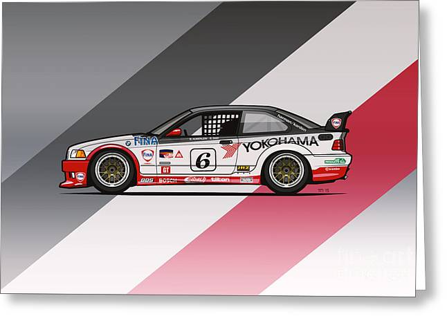 Bmw 3 Series E36 M3 Gts-2 Ptg Race Car Greeting Card by Monkey Crisis On Mars