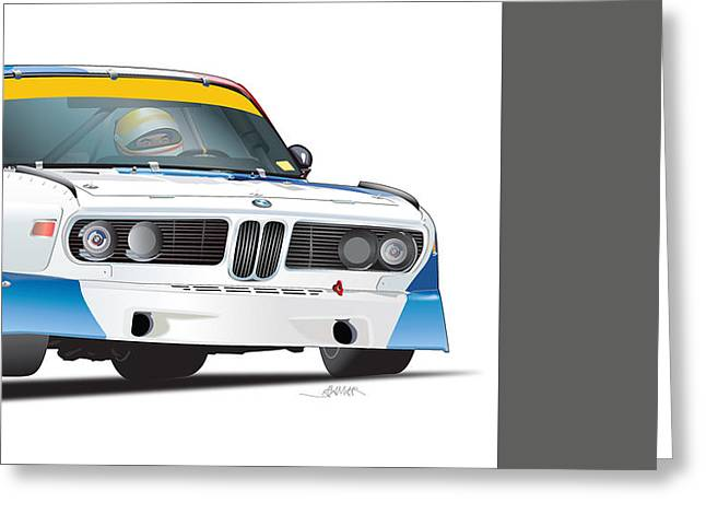 Championship Drawings Greeting Cards - Bmw 3.0 Csl Illustration Greeting Card by Alain Jamar
