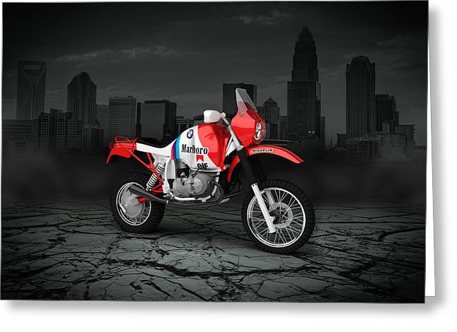 Rally Greeting Cards - BMW GS980R Dakar 1985 City Greeting Card by Aged Pixel