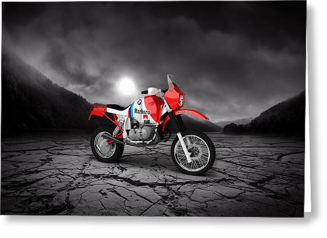 Rally Greeting Cards - BMW GS980R Dakar 1985  Mountains Greeting Card by Aged Pixel