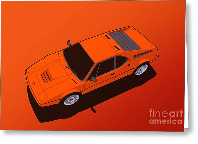 Bmw M1 E26 Red Orange Greeting Card by Monkey Crisis On Mars