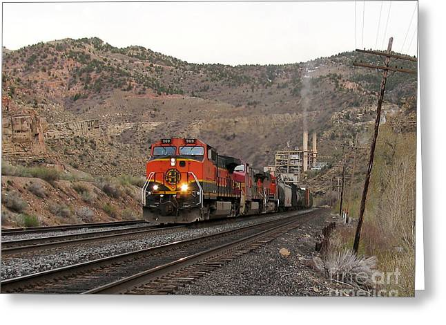 Recently Sold -  - Power Plants Greeting Cards - BNSF 969 Westbound at Carbon Steam Plant Greeting Card by Malcolm Howard